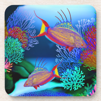 Coral Reef Flasher Wrasse Fish Cork Coaster