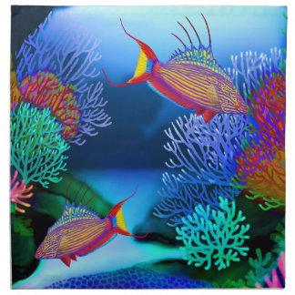 Coral Reef Flasher Wrasse Fish Napkins