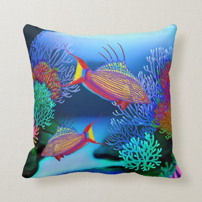 Coral Reef Flasher Wrasse Fish Pillows