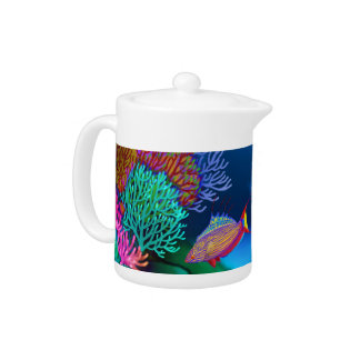 Coral Reef Flasher Wrasse Fish Teapot