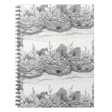 Beach Themed Coral reef ink illustration spiral notebook