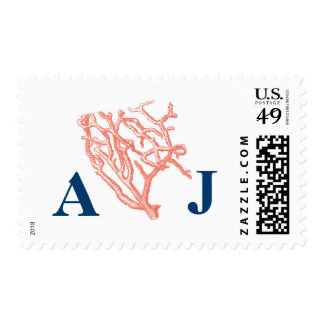 Coral Reef Monogram Initial Wedding Postage Stamps