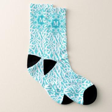 Beach Themed Coral Reef Ocean Starfish Aqua   Monogram Large Socks
