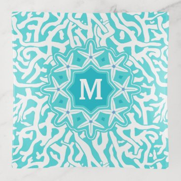 Beach Themed Coral Reef Ocean Starfish Monogram | Aqua Blue Trinket Trays