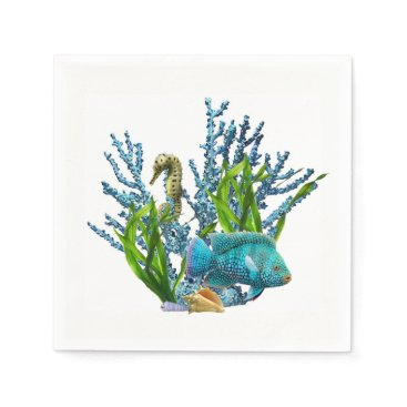 Beach Themed Coral Reef Paper Napkin