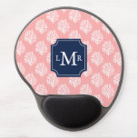 Coral Reef Pattern and Blue Monogram Gel Mousepads