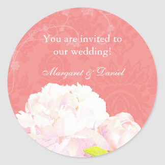 Coral Reef Peony Wedding Invitation Favor Stickers