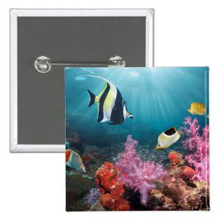 Coral Reef Scenery | Moorish Idol Pinback Button