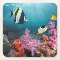 Coral Reef Scenery | Moorish Idol Square Paper Coaster