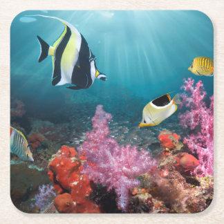 Coral Reef Scenery   Moorish Idol Square Paper Coaster