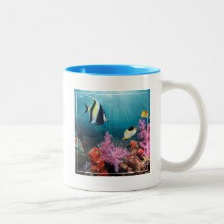 Coral Reef Scenery | Moorish Idol Two-Tone Coffee Mug
