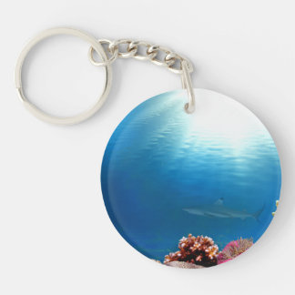 Coral Reef & Shark Double-Sided Round Acrylic Keychain