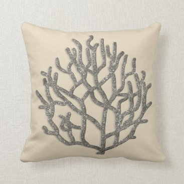 Beach Themed Coral Reef Silver Gray sparkle graphic Throw Pillow