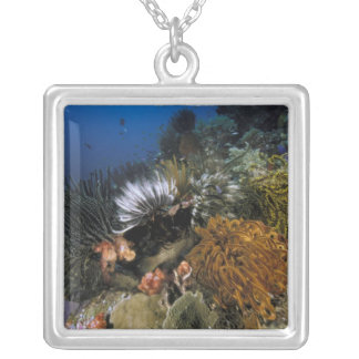 Coral reef. silver plated necklace