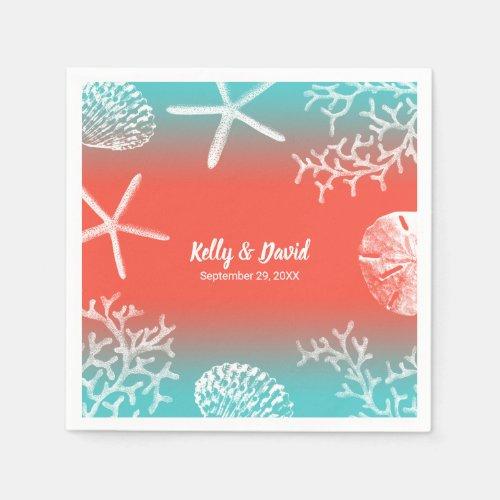 Coral Reef Starfish Tropical Beach Wedding Napkins