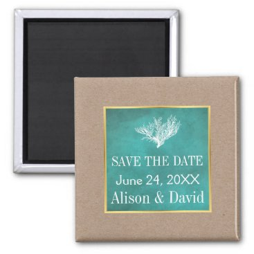 Beach Themed Coral reef teal beach wedding Save the Date Magnet