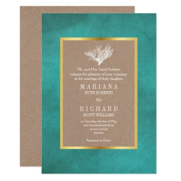 Beach Themed Coral reef teal blue & kraft paper beach wedding card