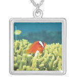 Coral reef teeming with tropical fish square pendant necklace