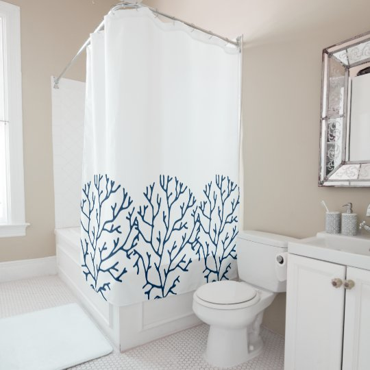 Coral Reef Theme Stylish Teal Blue Pattern Shower Curtain