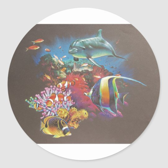 Coral Reef Tropical Fish Classic Round Sticker
