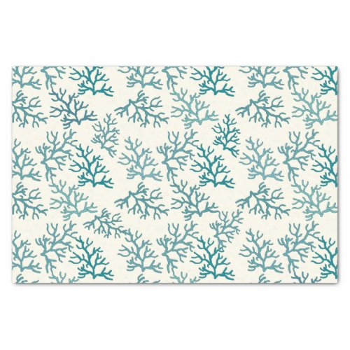 Coral Reef turquoise patterns customize backround Tissue Paper