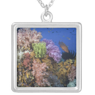 Coral reef, uderwater view personalized necklace