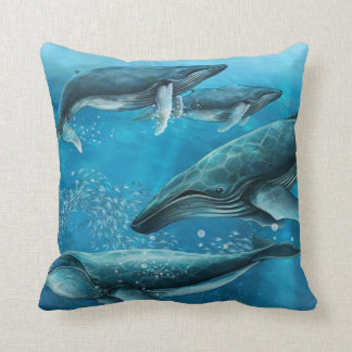 Coral Reef Whales Throw Pillow