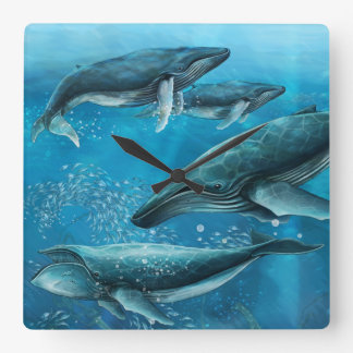 Coral Reef Whales Wall Clock