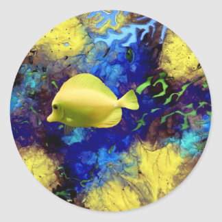 Coral Reef with Yellow Tang Tropical Fish Classic Round Sticker