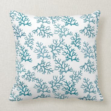 Beach Themed Coral Reefs patterns Turquoise beach Throw Pillow