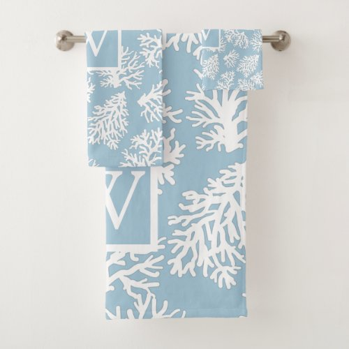 Coral Reefs summer coastal beach  monogram Outdoor Bath Towel Set
