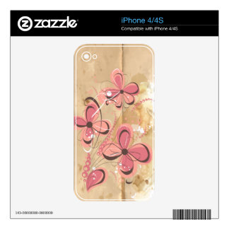 Coral Retro Flowers  Zazzle Skin Decal For The iPhone 4S