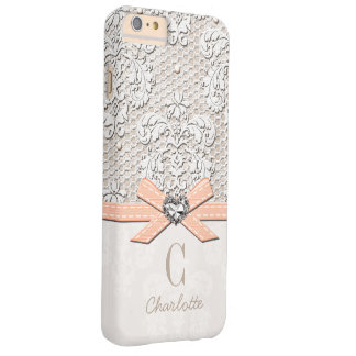 Coral Rhinestone Look Heart Printed Lace and Bow Barely There iPhone 6 Plus Case