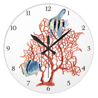 Coral rojo con los pescados tropicales, acuarela reloj redondo grande