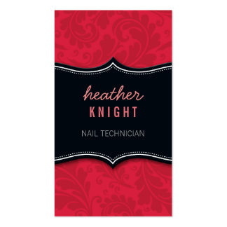 Coral rojo del negro fresco del flourish de la tarjetas personales