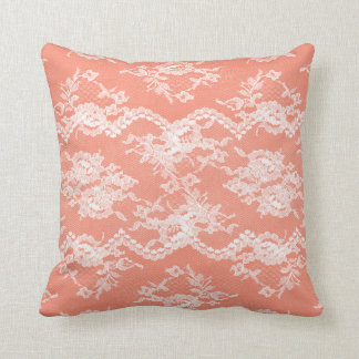 Coral Romantic Lace Throw Pillow