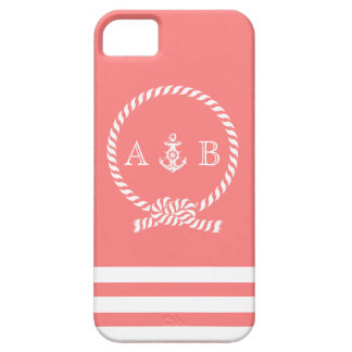 Coral Rope and Anchor Monogram iPhone SE/5/5s Case