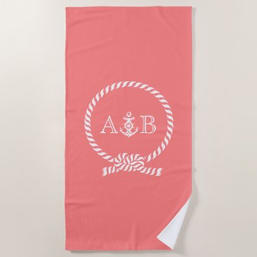 Beach Themed Coral Rope and Anchor Monogrammed Beach Towel
