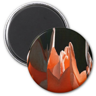 Coral Rose Abstract 2 Inch Round Magnet