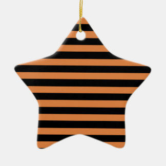 Coral Rose And Horizontal Black Stripes Christmas Ornaments