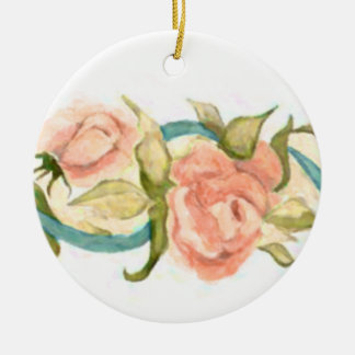Coral Rose and Ribbon Christmas Ornament