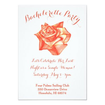 Beach Themed Coral Rose Bachelorette Party Invitation