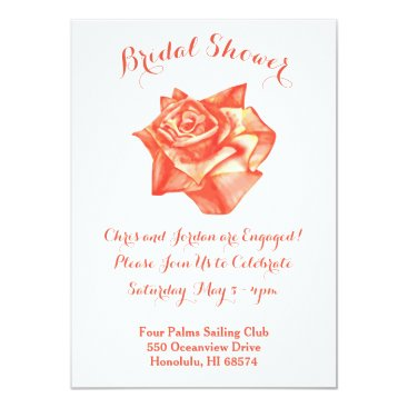 Beach Themed Coral Rose Bridal Engagement Shower Invitation