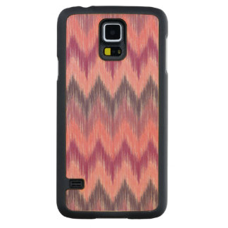 """""""Coral & Rose Chevron"""" Maple Wood Galaxy S5 Case Carved® Maple Galaxy S5 Slim Case"""