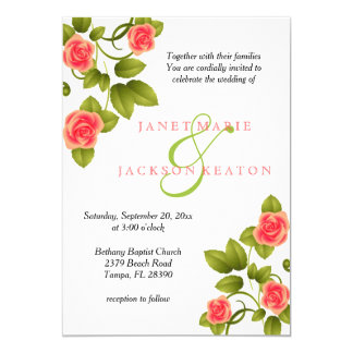 Coral Rose Flower Wedding Invitation