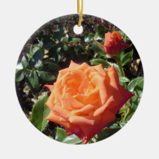 Coral Rose Christmas Ornament