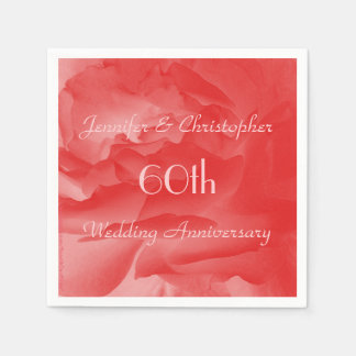 Coral Rose Paper Napkins, 60th Wedding Anniversary Paper Napkin
