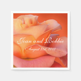Coral Rose Personalized Wedding Napkins