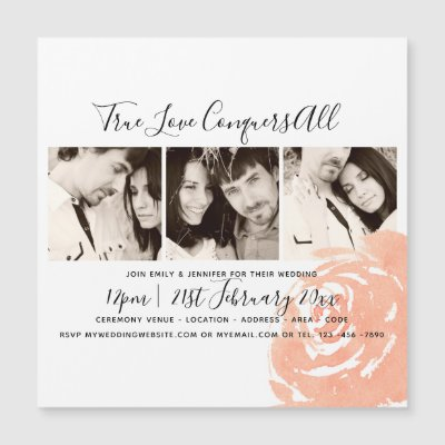 Coral Rose Photo Collage Wedding Save The Date Magnetic Invitation