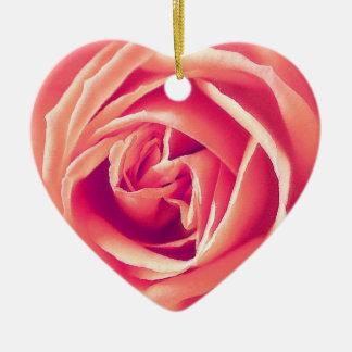 Coral rose print ceramic ornament